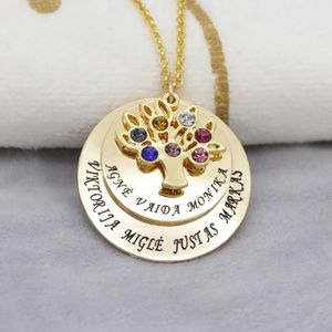 Jewelry - Personalized family tree necklace engrave 5 names